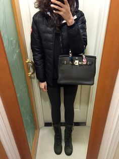 Canada Goose kensington parka sale authentic - UNIQLO cashmere sweater and skinny jeans, velvet slippers, Hermes ...