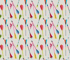 Bayley's room, accent pillows? Head over heels for arrows fabric by coty on Spoonflower - custom fabric