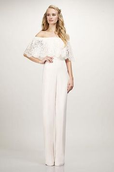 Mila - #910168 - Off-the-shoulder lace ruffle bodie crepe jumpsuit  available at Carrie Karibo Bridal www.carriekaribobridal.com #bridesmaids
