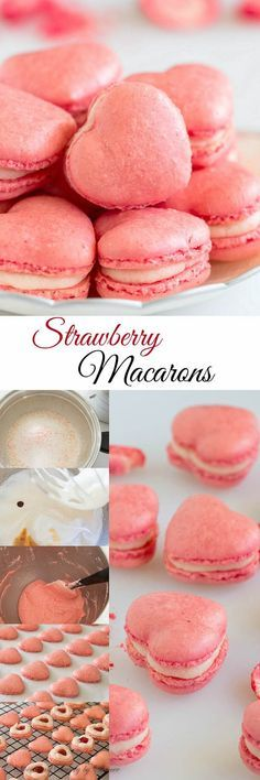 These adorable little heart-shaped strawberry macarons are infused with strawberry flavor in every layer (no artificial flavoring)! So good, you wouldn't want to share!