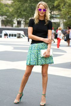 Black top & textured print skirt
