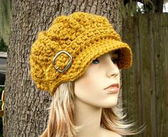 The Monarch Ribbed Newsboy Hat in Golden Rod Mustard Yellow, $54.00 http://pixiebell.etsy.com