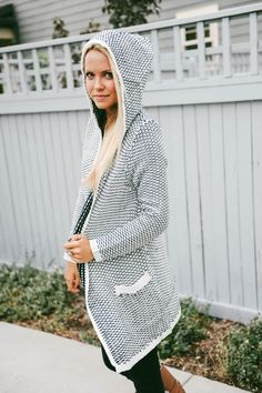 Woven Hooded Cardigan - 2 Colors!