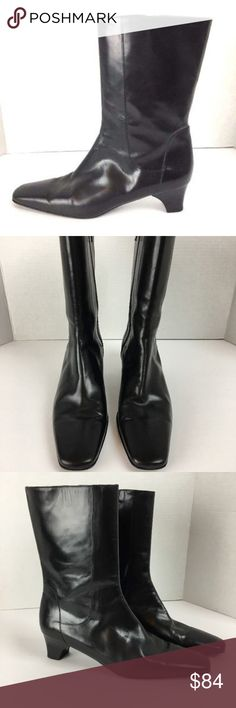 Cole Haan Boots Black Leather Size 8.5 Cole Haan Womens Boots 8.5 B Black Leather Zip Block Heel Mid Calf Made in Italy  Brand:  Cole Haan  Material:  Leather  Size:  8.5 Cole Haan Shoes Ankle Boots & Booties