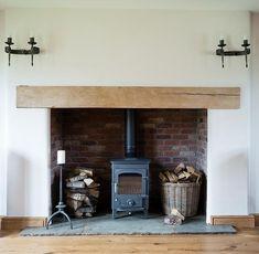 Herefordshire Halfpenny Cottage - Border Oak - oak framed houses, oak framed garages and structures. Wood Burner Fireplace, Cosy Fireplace, Build A Fireplace, Cottage Fireplace, Inglenook Fireplace, Fireplace Design, Wood Stove Hearth, Modern Fireplace, Fireplace Surrounds