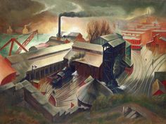 Engine House and Bunkers 1934 Austin Mecklem Born: Colfax, Washington 1894 Died: Kingston, New York 1951 oil on canvas 38 x 50 in. x cm.) Smithsonian American Art Museum Public Works of Art Project Industrial Artwork, Industrial Paintings, Nocturne, American Scene Painting, Clemente Orozco, Engine House, Russian Painting, Art Storage, Museum Collection