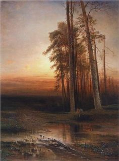 Evening, 1877 by Aleksey Savrasov. Russian Painting, Russian Art, Fantasy Paintings, Landscape Paintings, Art Paintings, Russian Landscape, Seascape Art, Watercolor Trees, Pastel Watercolor