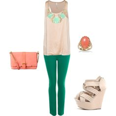 green and coral, created by annhanr on Polyvore
