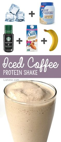 Iced Coffee Protein Shake Recipe to lose weight -- 115 Calories per serving! Healthy Iced Coffee Breakfast Protein Shake Recipe For Weight Loss (Vegan Smoothies For Weight Loss) Healthy Iced Coffee, Iced Coffee Protein Shake Recipe, Protein Shake Recipes, Coffee Protein Smoothie, Coffee Smoothie Recipes, Protein Snacks, Coffee Protein Shakes, Breakfast Protein Smoothie, Iced Coffee Recipes