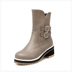 Women's Kitten-Heels Solid Round Closed Toe Soft Material Zipper Boots Gray 33