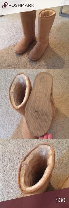Tan Fuzzy Boots **not ugg brand they are justfab brand. Worn once and in great condition! No stains just a little black on the bottom. Very comfy!! UGG Shoes Winter & Rain Boots