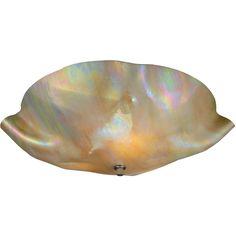 16 Inch W Metro Beige Iridescent Organic Art Glass Flushmount - Custom Made