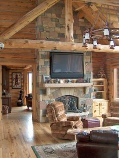 Exotic Log House Design in Traditional Country Concept : Terrific Living Room Interior Design In Rustic Style Supported By Accent Stone Wall...