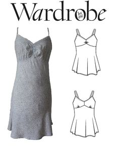 Camisole Slip dress PDF sewing pattern . Wardrobe by me, Susie slip dress sewing pattern ready for instant download.