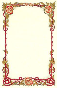 Antique Images: Flower Clip Art: Vintage Graphic of Red Rose Frame Clip Art