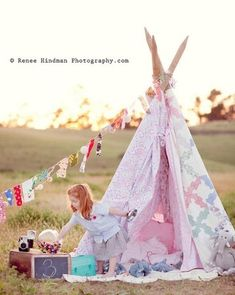 Cute teepee birthday shoot