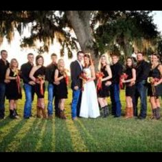 Jeans with black shirts for the groomsmen...