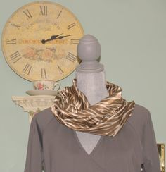 Infinity Scarf Brown and Cream Stripes Zebra by RoseRidgeCreations, $14.99