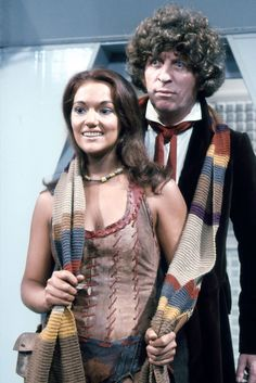 Leela and the Fourth Doctor. Another great reason to have the 4th Doctors scarf. To wrap up a companion. ;D