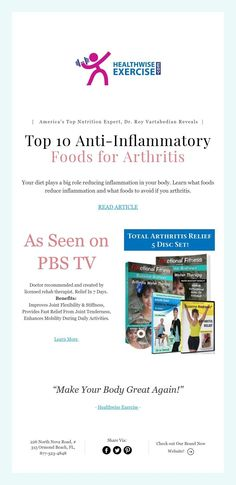 Your diet plays a big role reducing inflammation in your body. Learn what foods reduce inflammation and what foods to avoid if you arthritis. Foods For Arthritis, Pbs Tv, Anti Inflammatory Recipes, Foods To Avoid, Reduce Inflammation, Nutrition, Learning, Top