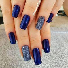 Nail - The best 10 nail art tips - - night blue silverly nail art nails nail ideas trendy nails blue nails. Winter Nails Colors 2019, Nail Colors, Stylish Nails, Trendy Nails, Hair And Nails, My Nails, Cute Acrylic Nails, Nail Art Hacks, Gorgeous Nails