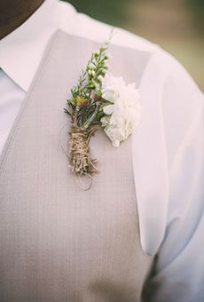 A Rustic White Ranunculus Boutonniere | Wedding Flowers