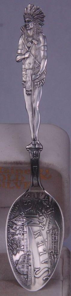 Antique Sterling Salem,Mass Souvenir Spoon Figural Indian Handle