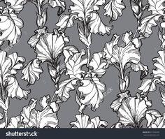 Vector illustration Floral flower iris seamless hand drawn pattern.
