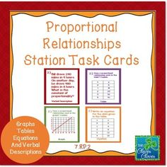 This product includes twenty task cards divided into five stations about proportional reasoning.  The stations include four questions on each of the following: graphs, tables, verbal descriptions, equations and ratios.  Students are asked to explain how they know if a proportional relationship exits in a graph, table, and a verbal description.