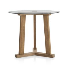 """Teak Reclaimed Wood High Dining Table with 42"""" Round Glass Top 