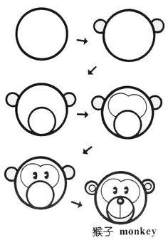 儿童简笔画猴子图——儿童简笔画动物图库