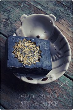 buddha's garden soap with gold mica stamp