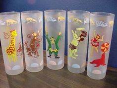 SET 5 FROSTED 1960'S CIRCUS CHARACTERS TUMBLERS -