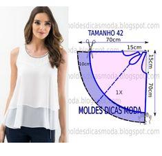 Blusa branca gode molde e costura - Moldes Moda por Medida