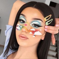 38 Fantasie-Make-up-Ideen und sie sind perfekt für Halloween – – 38 fantasy makeup ideas and they are perfect for Halloween – – … Nyx Concealer, Nyx Dupes, Nyx Cosmetics, Rainbow Makeup, Colorful Eye Makeup, Eye Makeup Art, Movie Makeup, Cool Makeup Looks, Crazy Makeup