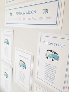 Camper van wedding stationery table plan. More ideas for table names at http://www.toptableplanner.com/table_names.php