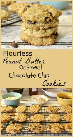 These cookies contain no flour and are made with honey and sugar-free chocolate chips, Flourless Peanut Butter Oatmeal Chocolate Chip Cookies. Recipe ~ http://sweetandspicymonkey.blogspot.com/2016/01/flourless-peanut-butter-oatmeal.html