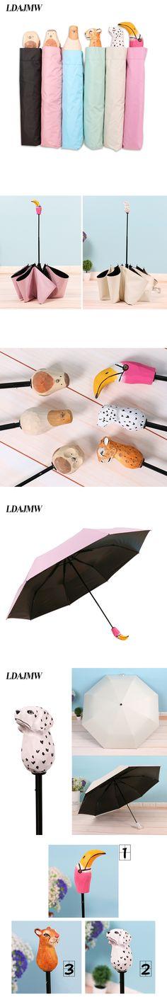 LDAJMW Carved Wooden Animal Head Handle Folding Umbrella Sunny And Rainy Umbrella Super Sunscreen Black Coating Anti- UV Parasol