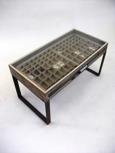 'Recreate' Recycled Furniture Collection By Katie Thompson – Printers Tray Coffee Table Vitrine Pour Collection, Repurposed Furniture, Diy Furniture, Printers Drawer, Glass Top Coffee Table, Coffee Tables, Displaying Collections, Furniture Restoration, Diy Wood Projects