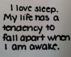 I love sleep. My life has a tendency to fall apart when I'm awake