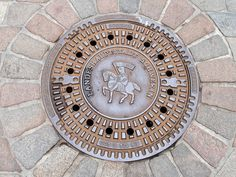 Manhole cover in Schwerin, Germany Capital City, Cover Art, Tapas, Knight, Germany, Architecture, Classic, Image, Design