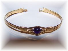 Gold Filled Wire Wrapped Bracelet Purple Amythest Bead on Etsy, $27.00