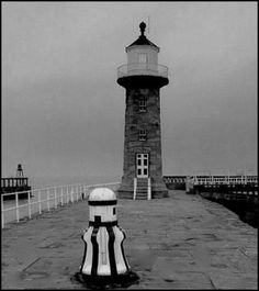 Whitby lighthouse on a dull day