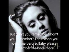 Don't You Remember - Adele (lyrics video) - YouTube