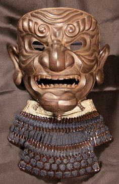 Japanese samurai armour mask So-men.Matsuda Myochin (1784).