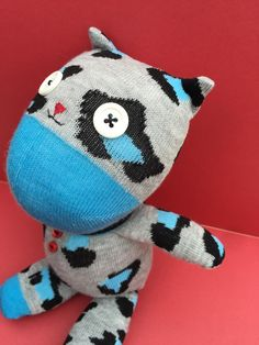 BettysWhimsies @ Etsy ... https://www.etsy.com/listing/290406835/sock-animal-kitty-grey-blue-animal-print?ref=shop_home_active_26