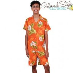 Mens Cabana Set boardies and matching hawaiian shirt Orange Hibiscus fancy dress costume