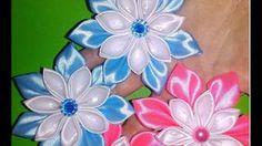 простые и нежные цветы - резиночки КАНЗАШИ мастер класс kanzashi  kwiat ...
