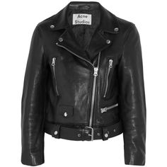 Acne Studios Leather biker jacket ($1,540) ❤ liked on Polyvore featuring outerwear, jackets, acne, coats & jackets, black, asymmetrical zip jacket, real leather jacket, shiny jacket, black jacket and asymmetrical zip moto jacket