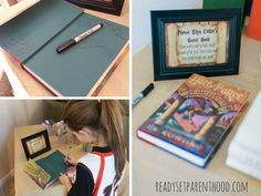 Instead of the traditional guest book, have friends and family sign the baby's first copy of Harry Potter and The Sorcerer's Stone.